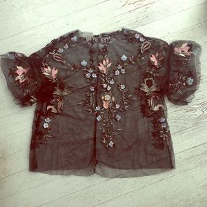 Sheer embroideried tulle blouse